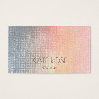 Gray Peach Grungy Ombre Contemporary Pastel Business Card