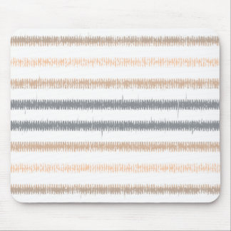 Gray Peach Ikat Stripes Mouse Pad