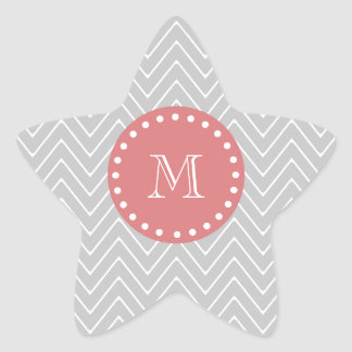 Gray & Peach Modern Chevron Custom Monogram Star Sticker