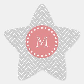 Gray & Peach Modern Chevron Custom Monogram Star Stickers