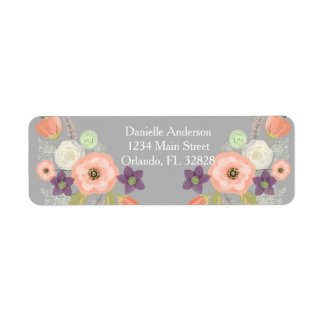Gray Peach Watercolor Floral Return Address Label