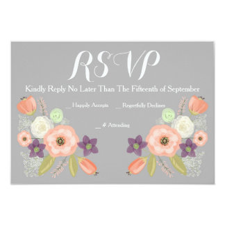 Gray & Peach Watercolor Floral RSVP Response Cards