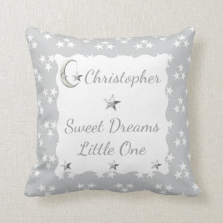 Gray Personalized baby name white Stars Cushion