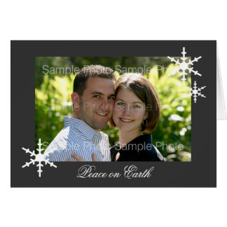 Gray Personalized Photo Peace Christmas Cards