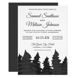Gray Pine Trees Forest Wedding Invitation