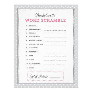 Gray & Pink Bachelorette Word Scramble Game 21.5 Cm X 28 Cm Flyer