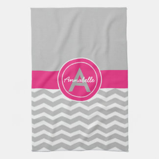 Gray Pink Chevron Tea Towel