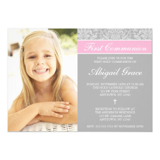 Gray Pink Damask Girl Photo First Communion Card