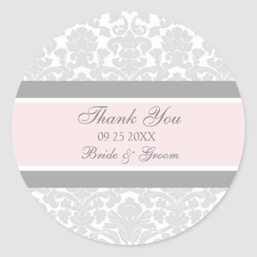 Gray Pink Damask Thank You Wedding Favor Tags Round Sticker