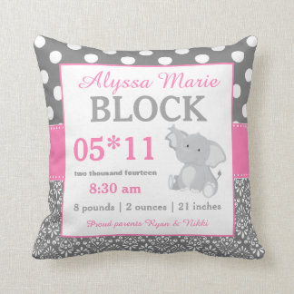 Gray Pink Elephant Baby Announcement Pillow Cushion