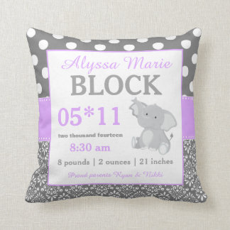 Gray Pink Elephant Baby Announcement Pillow Throw Cushions