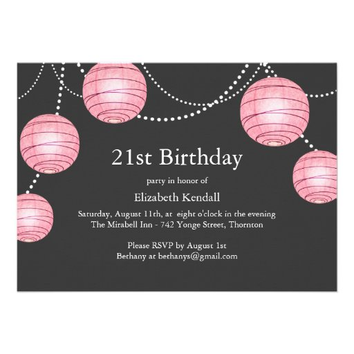 Gray & Pink Party Lantern 21st Birthday Invitation