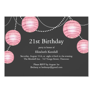 Gray & Pink Party Lantern 21st Birthday Invitation