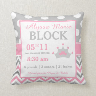 Gray Pink Princess Baby Announcement Pillow Throw Cushion