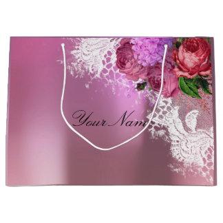 Gray Pink Red Peony White Lace Name Metallic Large Gift Bag