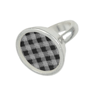 Gray Plaid Crochet Print Sterling Silver Plated Ring