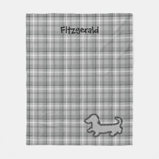 Gray Plaid Dachshund Fleece Blanket
