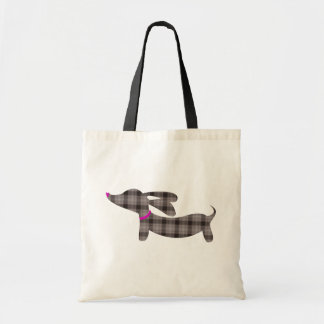 Gray Plaid Dachshund Wiener Dog Tote Bag