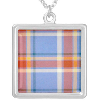 Gray Plaid Necklace
