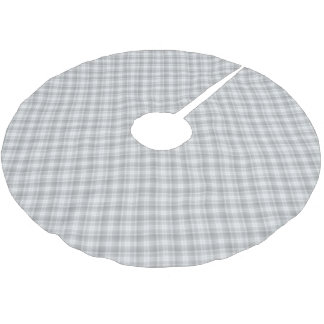Gray plaid pattern tree skirt