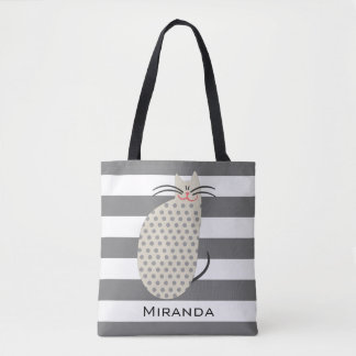 Gray Polka Dot Cat with Monogram Tote Bag