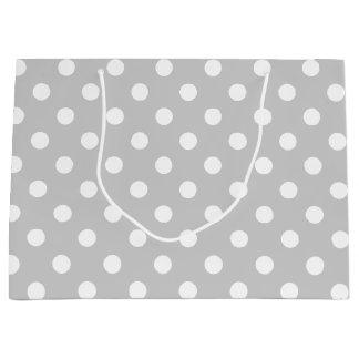Gray Polka Dot Pattern Large Gift Bag