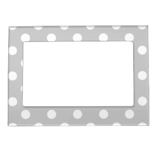 Gray Polka Dot Pattern Magnetic Picture Frame