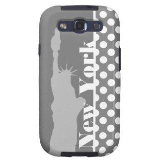 Gray Polka Dots; New York Galaxy S3 Cover