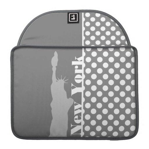 Gray Polka Dots; New York Sleeve For MacBook Pro