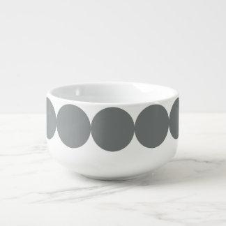 Gray Polka Dots On White Retro Pattern Soup Mug