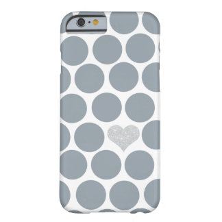 Gray Polka Dots Silver Heart iPhone Barely There iPhone 6 Case