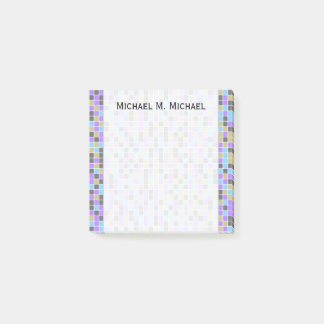 Gray, Purple, Beige, Blue Squares/Tiles Pattern Post-it Notes