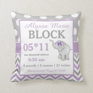 Gray Purple Elephant Baby Announcement Pillow Throw Cushion