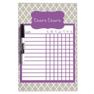 Gray & Purple Quatrefoil Chore Chart Dry Erase Board