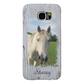 Gray Quarter Horse on Whitewashed Board