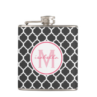Gray Quatrefoil Monogram Hip Flask