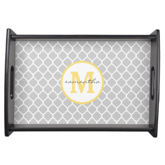 Gray Quatrefoil Monogram Serving Tray