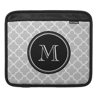 Gray Quatrefoil Pattern, Black Monogram iPad Sleeve
