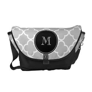 Gray Quatrefoil Pattern Black Monogram Messenger Bags