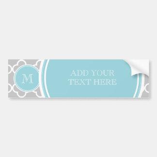 Gray Quatrefoil Pattern Blue Monogram Bumper Stickers