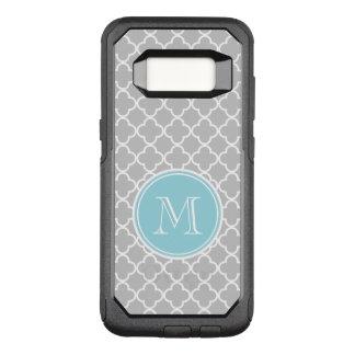 Gray Quatrefoil Pattern, Blue Monogram OtterBox Commuter Samsung Galaxy S8 Case
