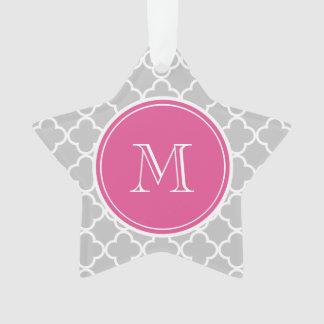 Gray Quatrefoil Pattern, Hot Pink Monogram