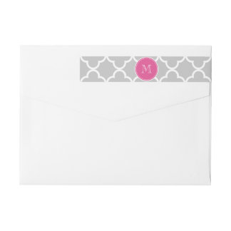 Gray Quatrefoil Pattern, Hot Pink Monogram Wraparound Return Address Label
