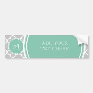 Gray Quatrefoil Pattern, Mint Green Monogram Bumper Sticker