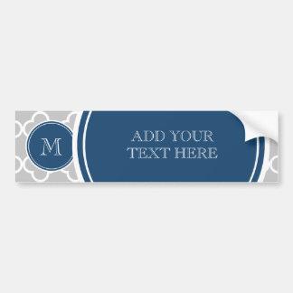 Gray Quatrefoil Pattern, Navy Blue Monogram Bumper Sticker