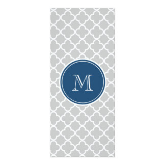 Gray Quatrefoil Pattern, Navy Blue Monogram Personalized Invites