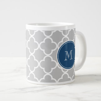 Gray Quatrefoil Pattern, Navy Blue Monogram Large Coffee Mug