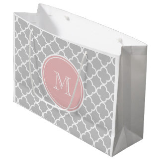 Gray Quatrefoil Pattern, Pink Monogram Large Gift Bag