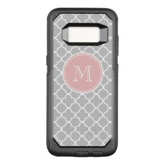Gray Quatrefoil Pattern, Pink Monogram OtterBox Commuter Samsung Galaxy S8 Case