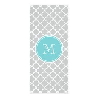 Gray Quatrefoil Pattern, Teal Monogram 4x9.25 Paper Invitation Card
